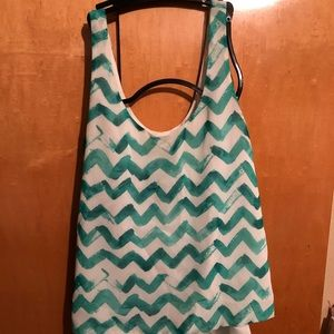 Teal and white tie back blouse
